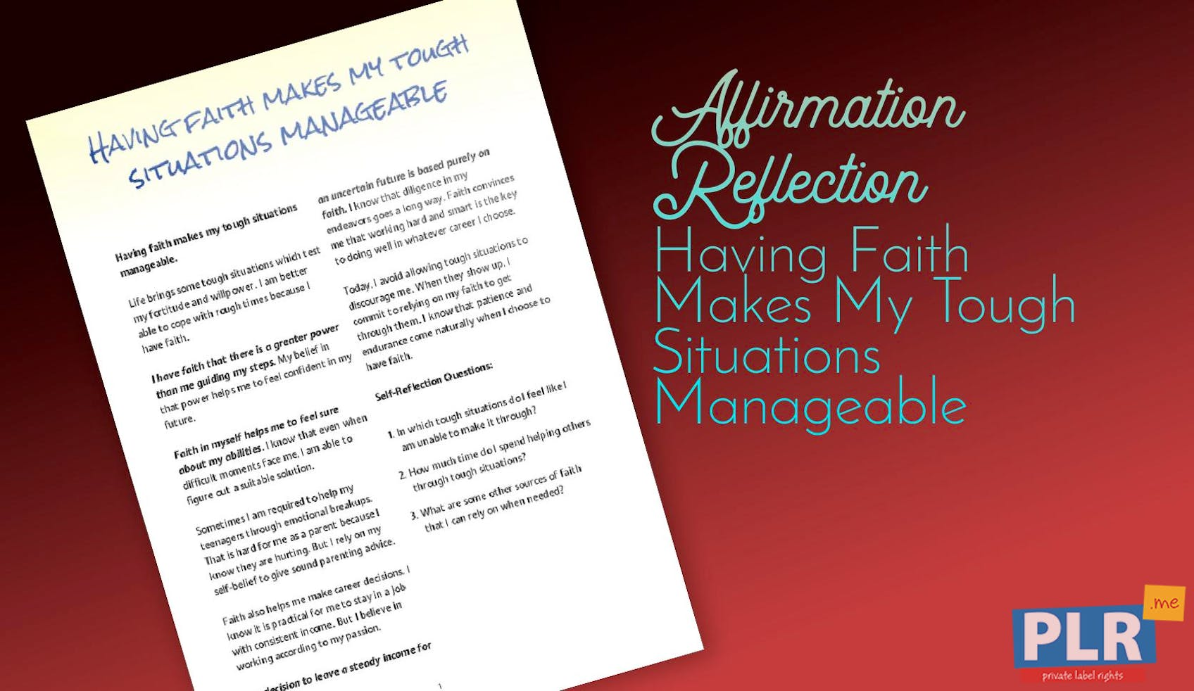 Having Faith Makes My Tough Situations Manageable