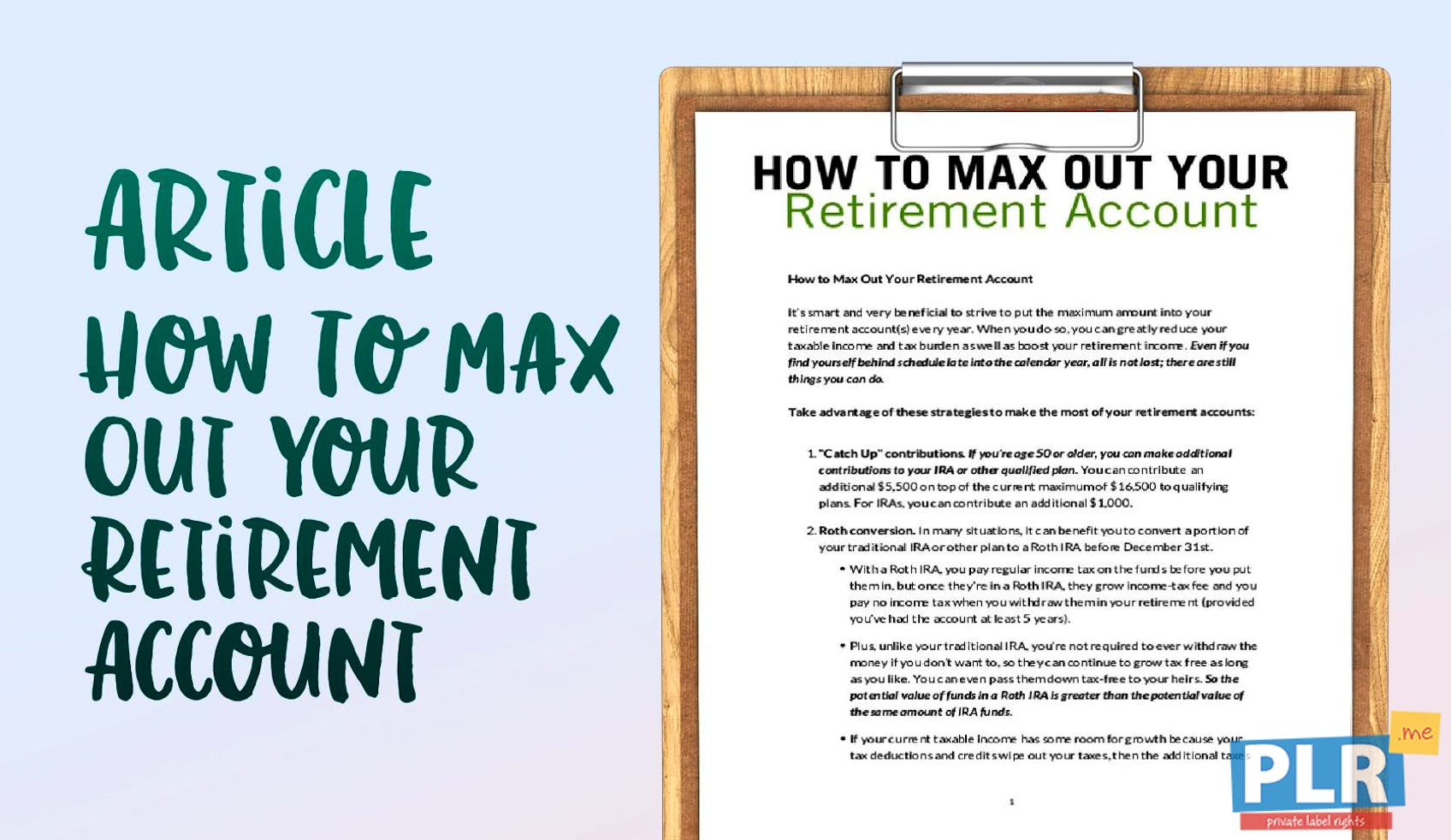 plr articles blog posts how to max out your retirement account
