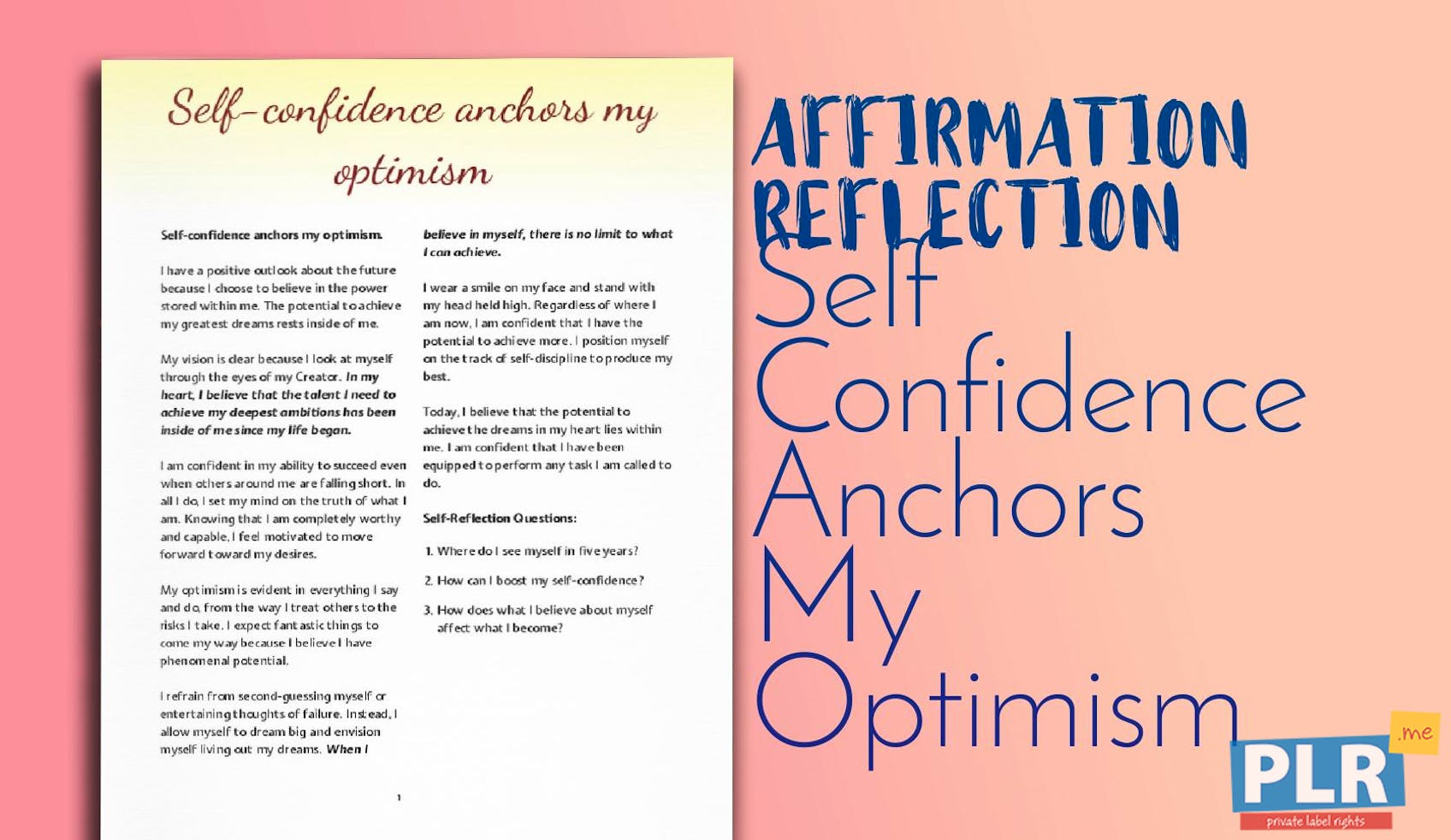 Self Confidence Anchors My Optimism