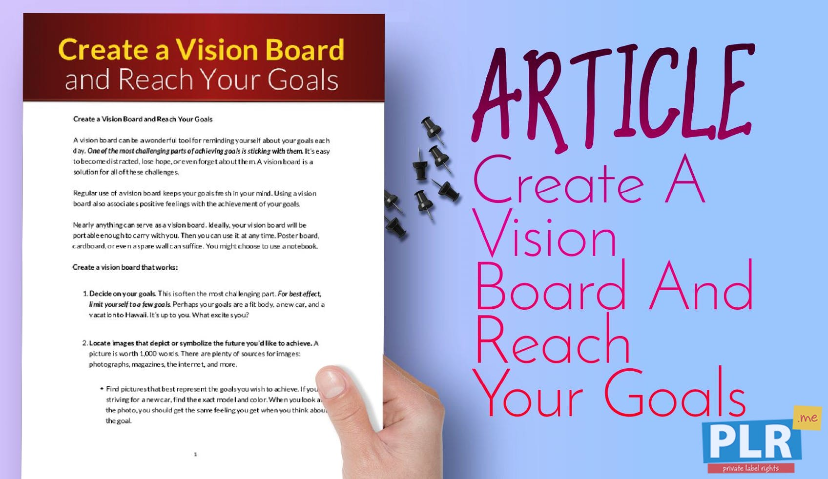 PLR Articles & Blog Posts - Create A Vision Board And Reach Your Goals - PLR .me