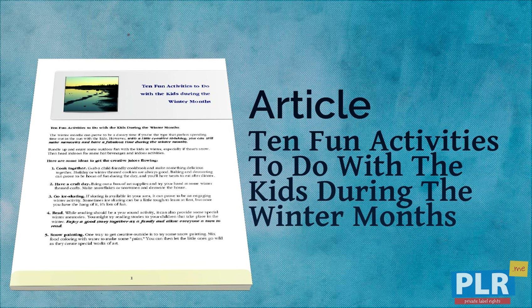 b42fc0fb1438 PLR Articles   Blog Posts - Ten Fun Activities To Do With The Kids ...