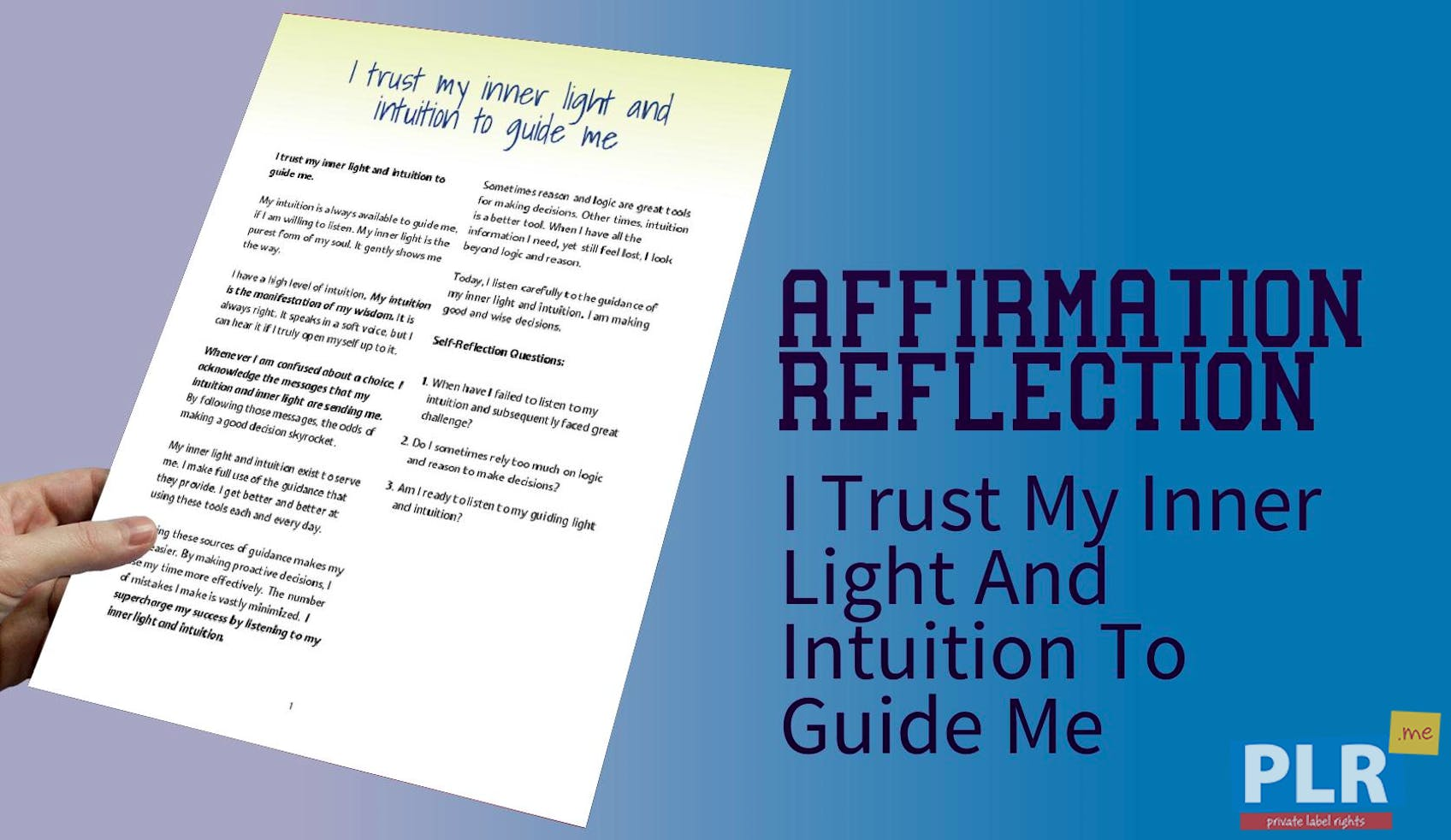 I Trust My Inner Light And Intuition To Guide Me