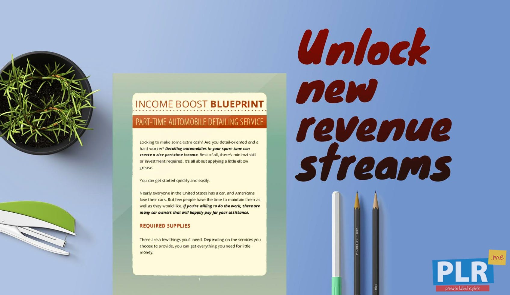 Income Boost Blueprint Automobile Detailing Service