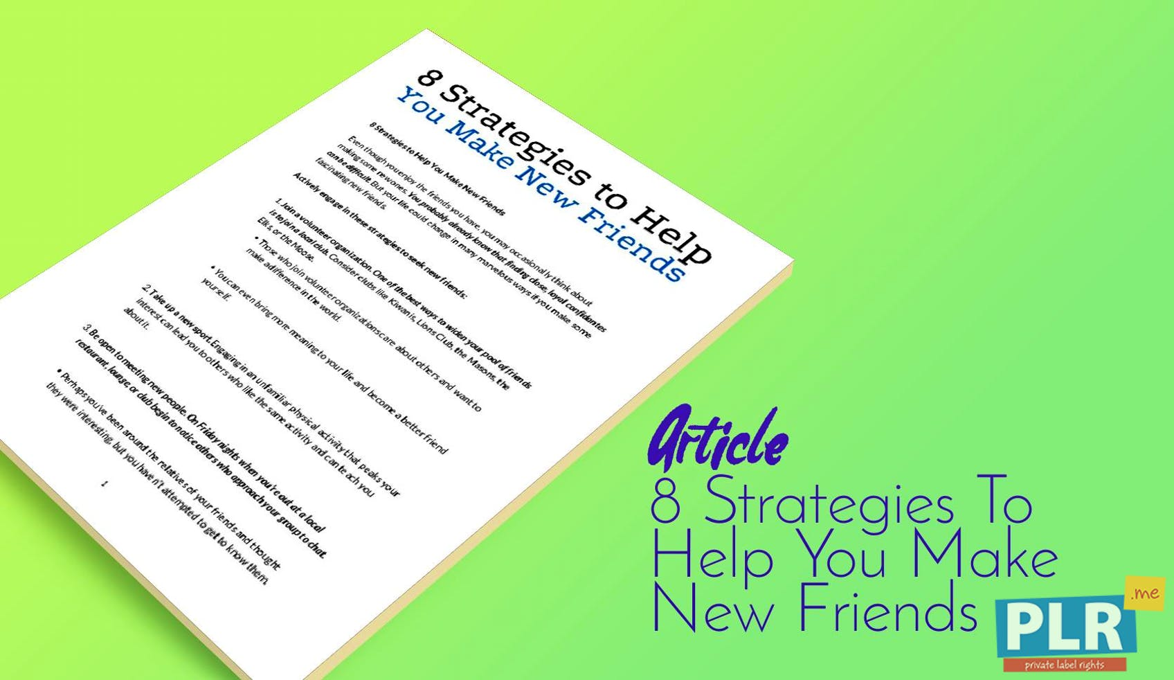 8 Strategies To Help You Make New Friends