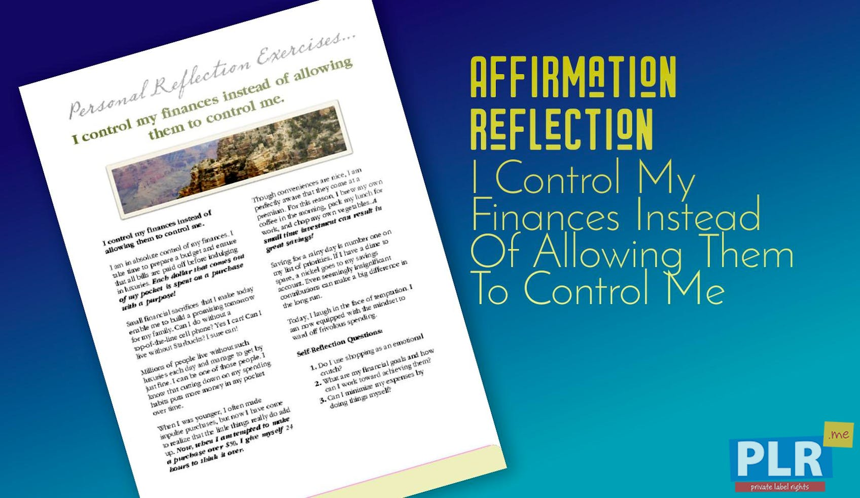 plr affirmation reflections i control my finances instead of