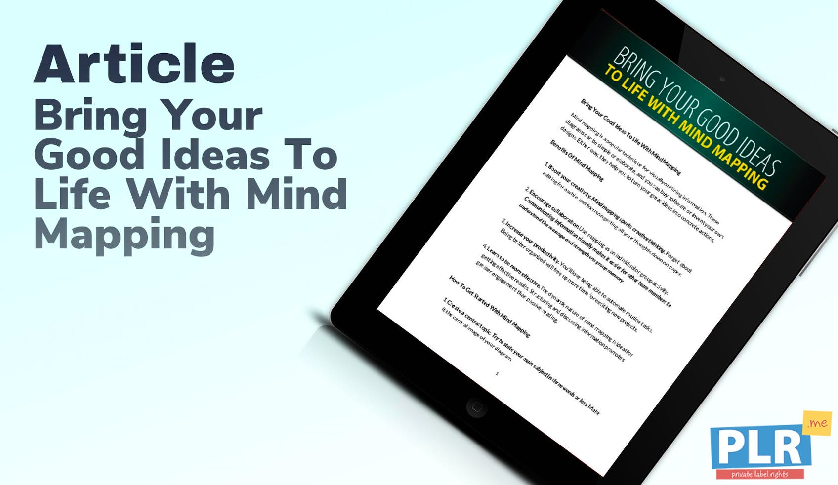 Bring Your Good Ideas To Life With Mind Mapping