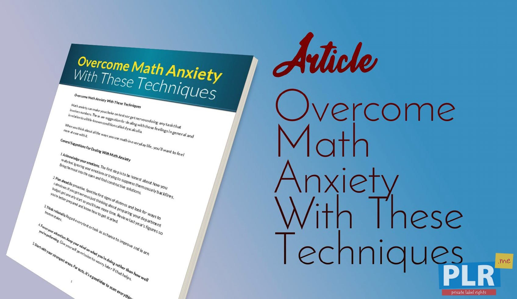 PLR Articles & Blog Posts - Overcome Math Anxiety With These ...
