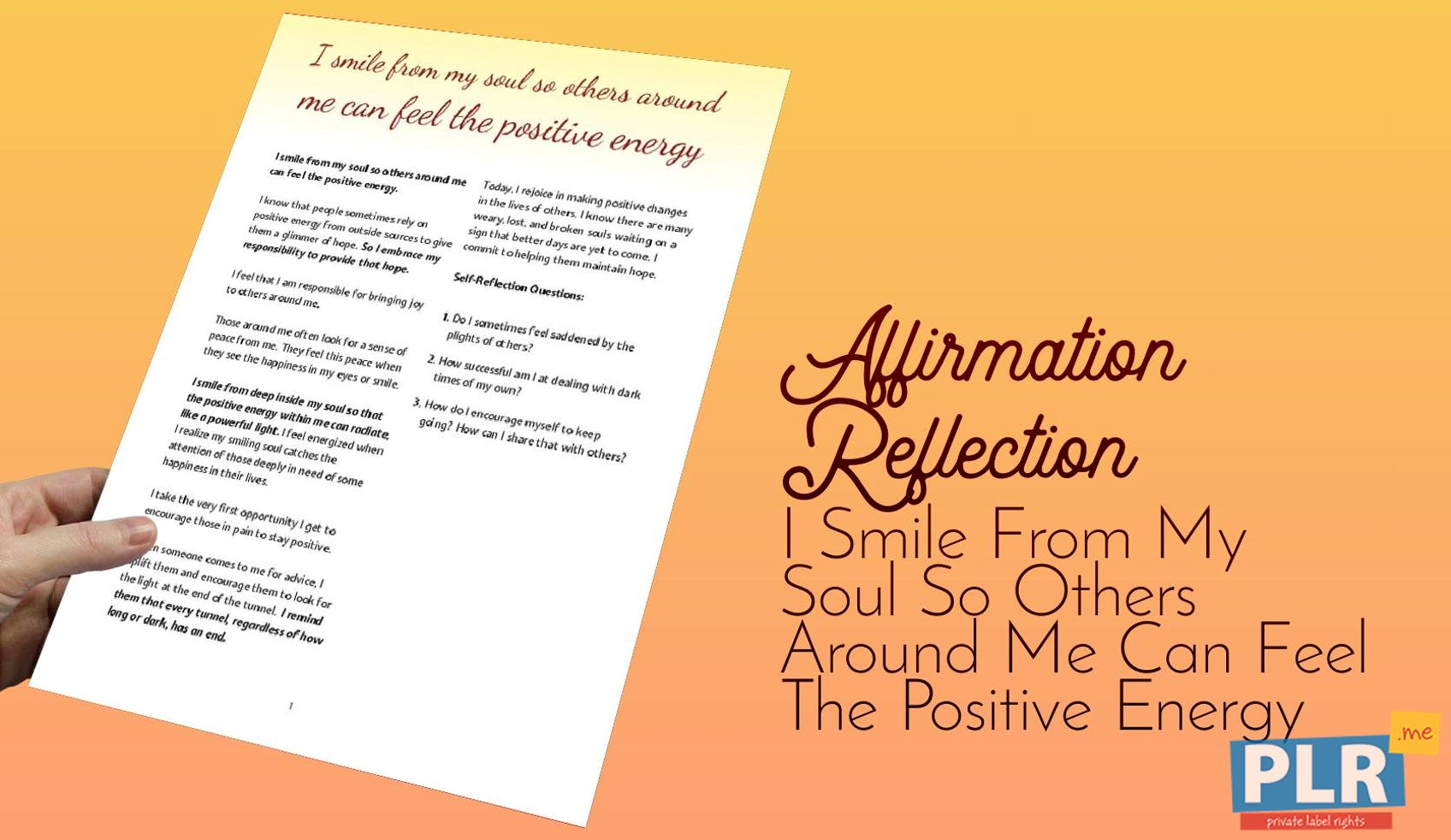 Plr Affirmation Reflections I Smile From My Soul So Others Around Me Can Feel The Positive Energy