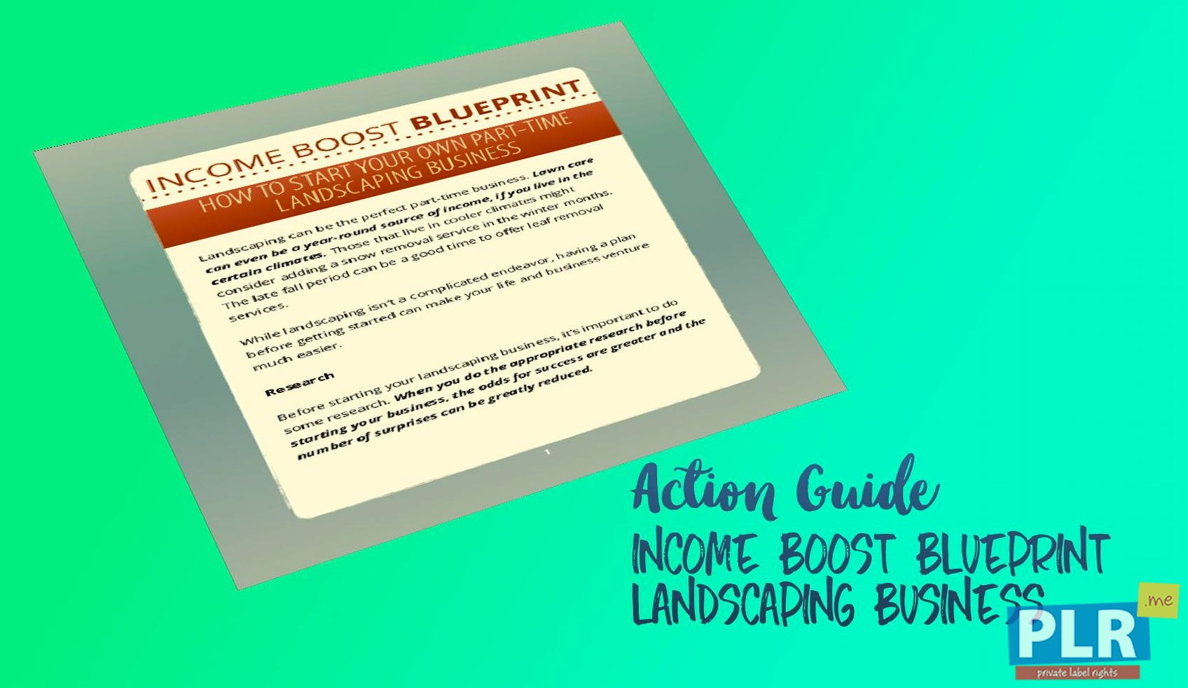 Income Boost Blueprint Landscaping Business