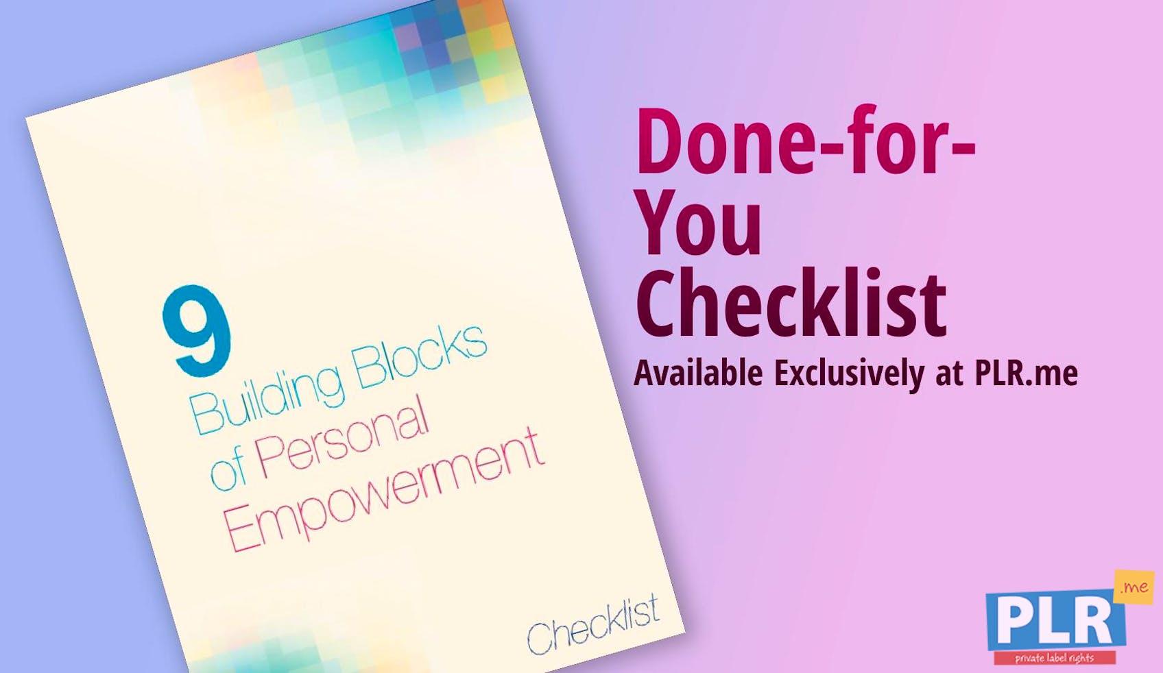 9 Building Blocks Of Personal Empowerment Checklist