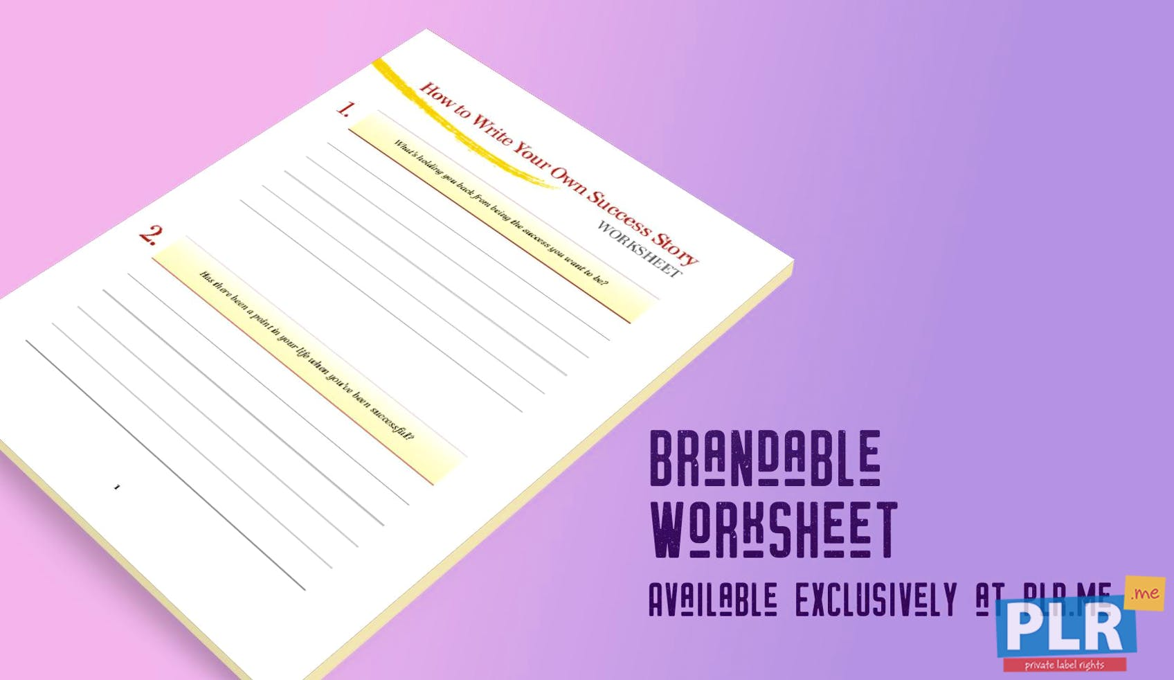 How To Write Your Own Success Story Worksheet