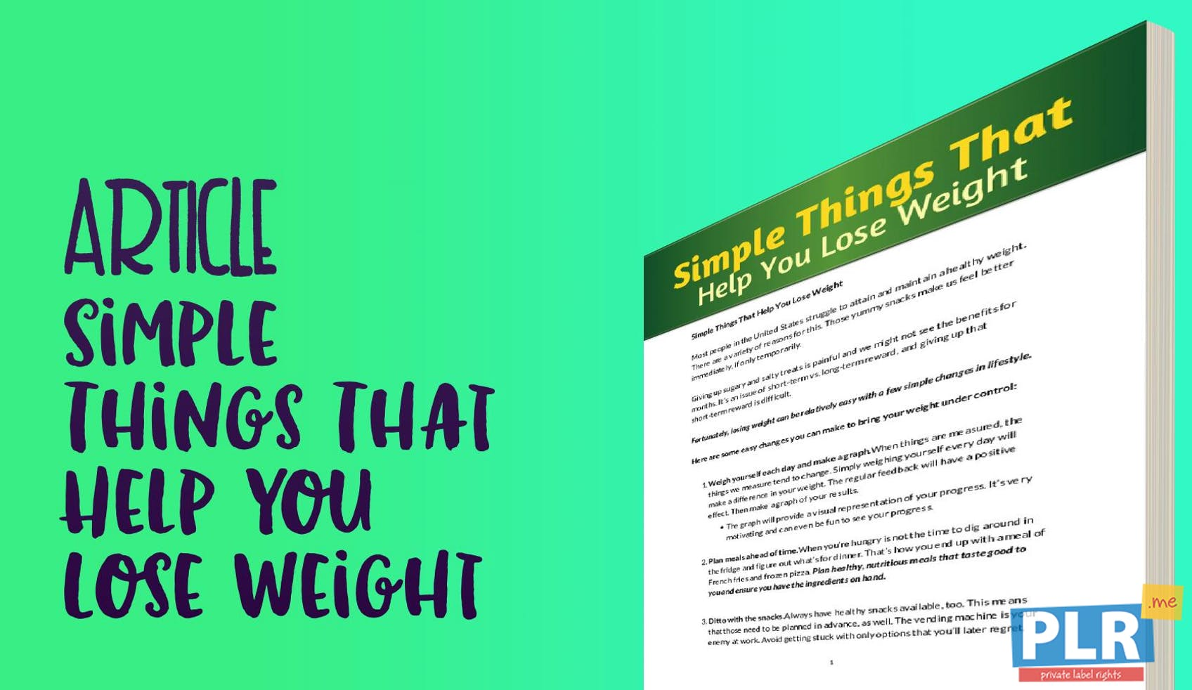 plr articles & blog posts - simple things that help you lose weight