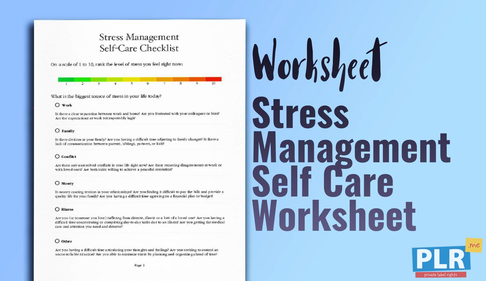 PLR Worksheets - Stress Management Self Care Worksheet - PLR.me