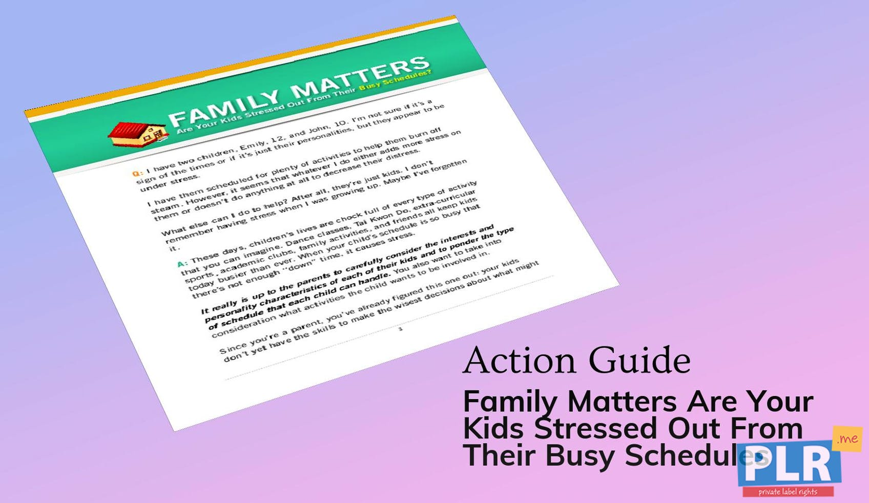 Family Matters Are Your Kids Stressed Out From Their Busy Schedules