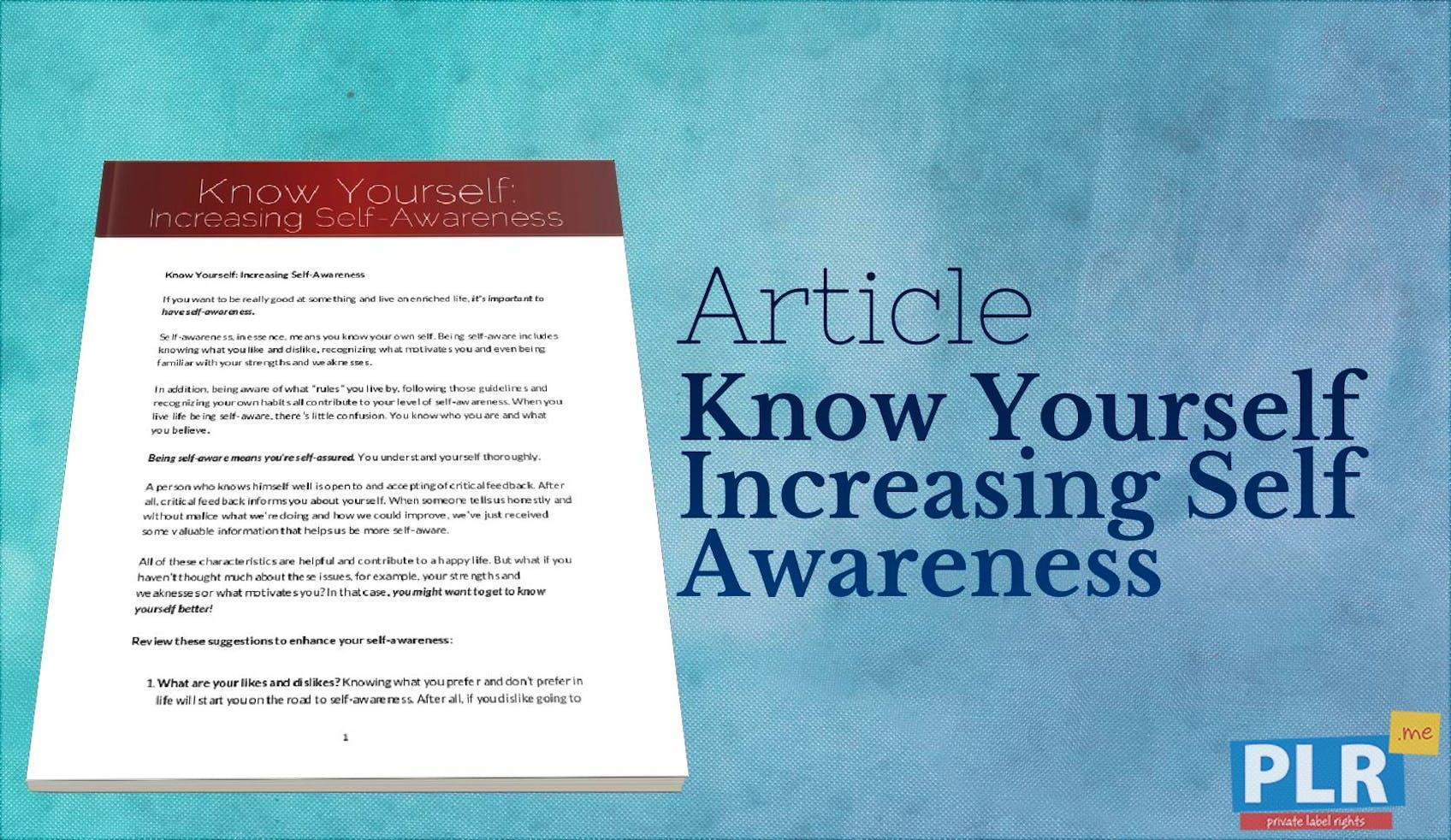 191db8efa PLR Articles   Blog Posts - Know Yourself Increasing Self Awareness - PLR.me
