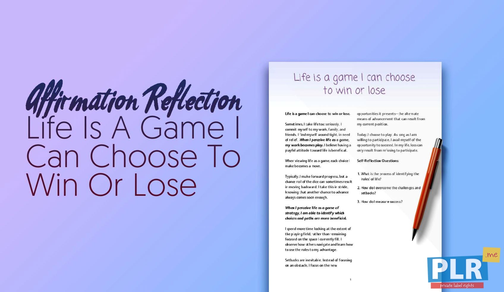 Life Is A Game I Can Choose To Win Or Lose