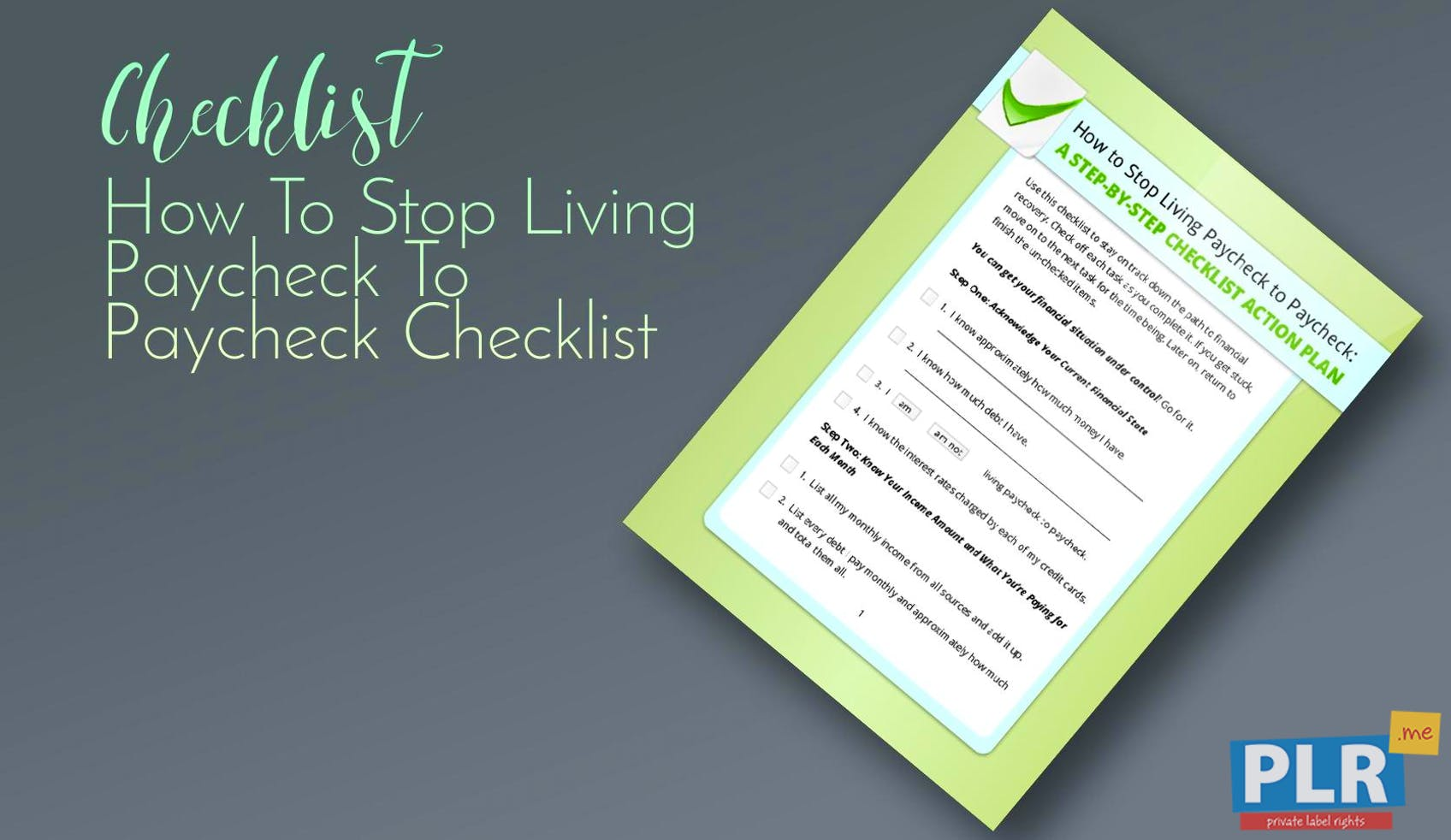 How To Stop Living Paycheck To Paycheck Checklist