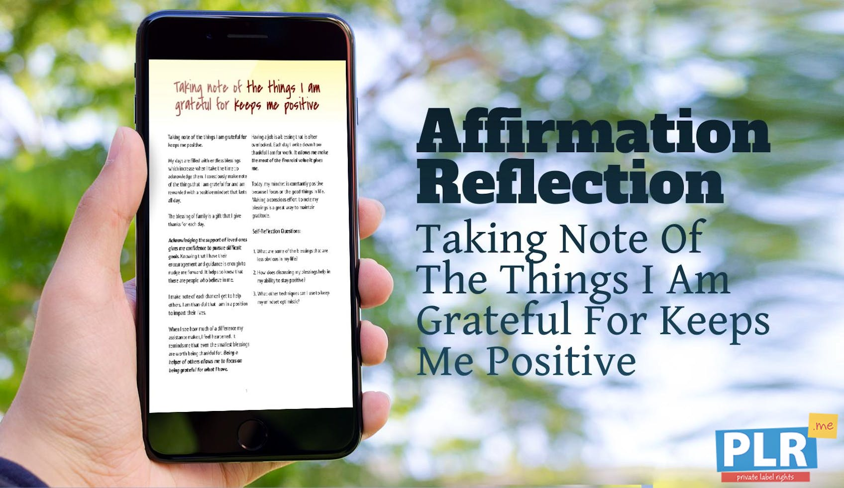 Taking Note Of The Things I Am Grateful For Keeps Me Positive