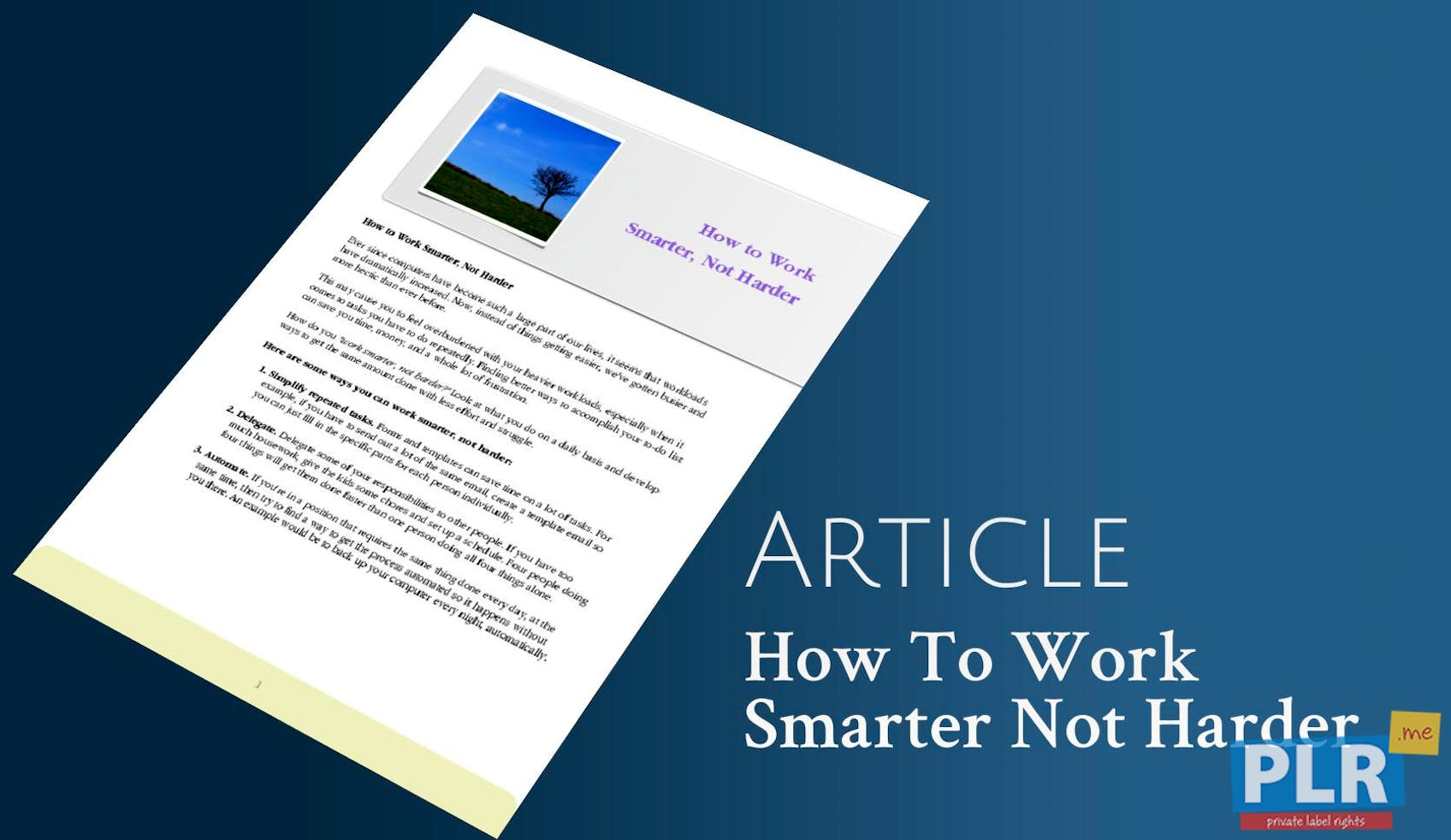 Working smarter not harder articles