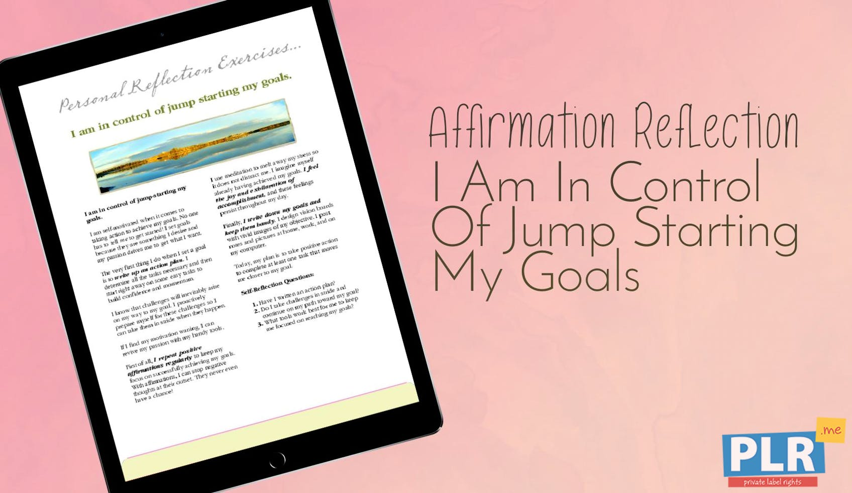 I Am In Control Of Jump Starting My Goals
