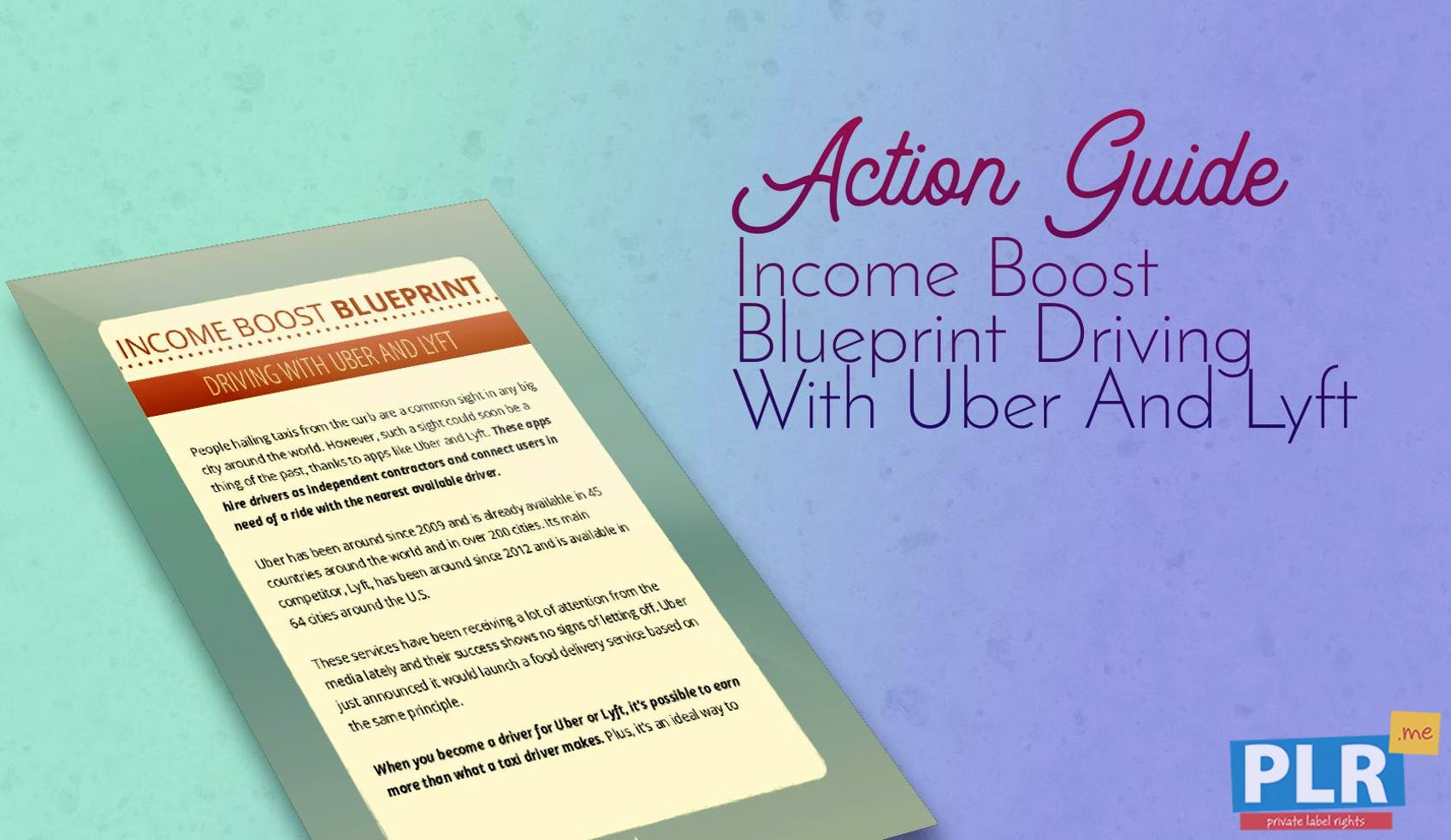 Income Boost Blueprint Driving With Uber And Lyft