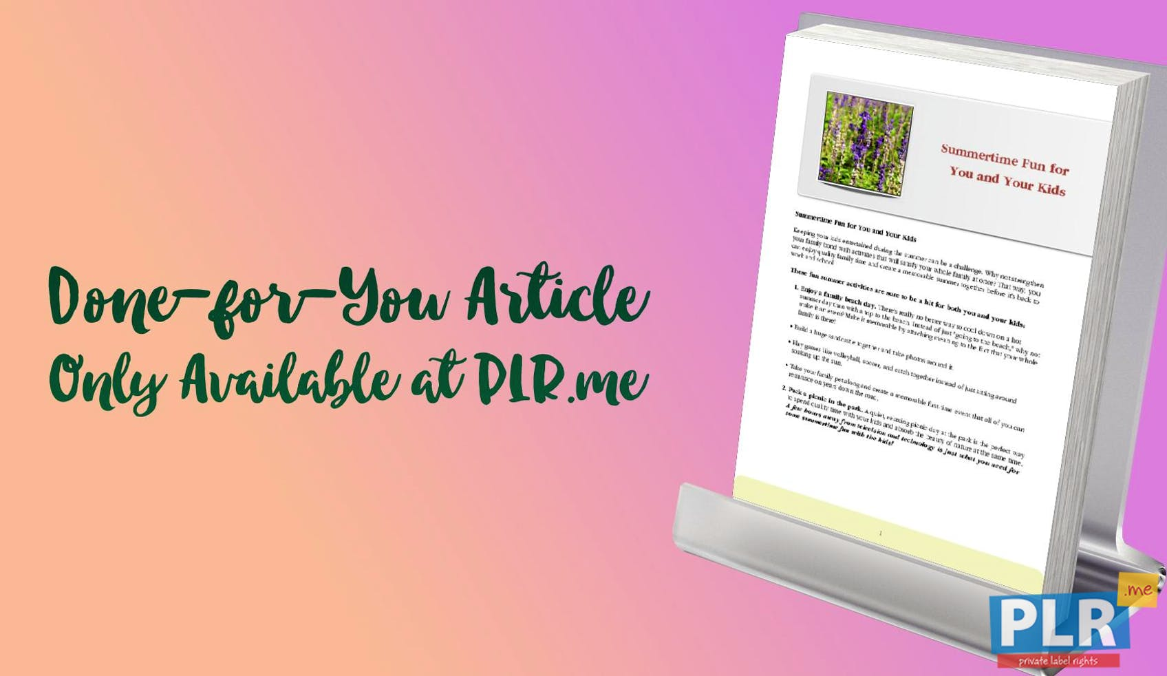 plr articles blog posts summertime fun for you and your kids